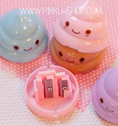 An adorable little pencil sharpener with two holes. Kawaii Stationery, Kawaii Stickers, Pencil Sharpener, Office Art, Happy, Shop, Watercolor, Ser Feliz, Happiness