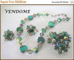 Vendome Green Crystal Set  Vintage Necklace by VintagObsessions