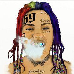 #tekashi69 #6ix9ine School Pictures, School Pics, Trap Art, Rapper Art, Trippie Redd, Boy Drawing, Supreme Wallpaper, Face Tattoos, Music Covers