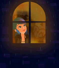 "kaeri-art: "" I'd like to think that Marinette thinks of Adrien whenever it rains~ Made in Ps """