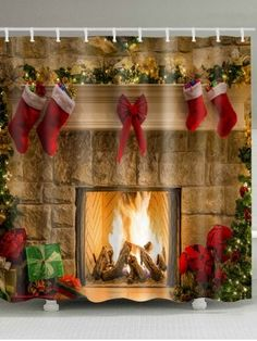 Christmas Fireplace Stockings Print Waterproof Bathroom Shower Curtain