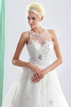 Charming A-Line Illusion Court Train Organza Wedding Dress CWLT130A2