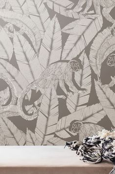 The beauty here is in the detail. Cute squirrel monkeys are frolicking between shimmering leaves. This unusual non-woven wallpaper with shaded patt. Office Wallpaper, Grey Wallpaper, Pattern Wallpaper, Basic Colors, Neutral Colors, Monkey Wallpaper, Grey Wall Decor, Cute Squirrel, Wallpaper Samples
