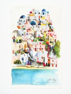 Yao Cheng Design- Santorini- Watercolor Tea Towel