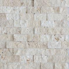 Beige Travertine Stacked Stone Mosaic Tile | Travertine Split Face ...