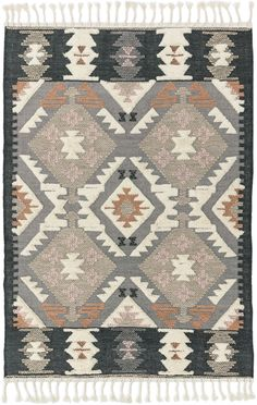 Native American textile designs bring tribal rug d̩cor home with the exciting Navajo Collection of area rugs. The bright transitional hues in these colorful rugs imbue their vivid geometric designs with a sense of animation, and make a stunning colo Southwest Rugs, For Elise, Cheap Rugs, Orange Rugs, Aztec Rug, Buy Rugs, Textiles, Traditional Rugs, Home Rugs
