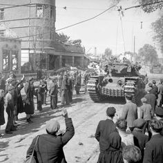 APR 25 1945 The Royal Scots Fusiliers enter Bremen - See more at: http://ww2today.com/Former slave workers in Bremen welcome the arrival of British Churchill tanks, 25 April 1945. BU 4309 Part of WAR OFFICE SECOND WORLD WAR OFFICIAL COLLECTION No 5 Army Film & Photographic Unit Midgley (Sgt)
