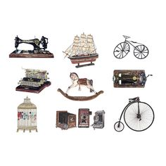 Ink Drawing (Print) of Vintage Objects by Ink and Stylus via Folksy