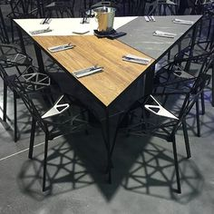 Our Trends collection's slogan: Fusion of Wood, Stone and Metal! is perfectly depicted by the trapezoidal modular we made out of our Modular Table, Modular Furniture, Office Furniture, Furniture Design, Interior Design And Space Planning, Flexible Furniture, Industrial Office Design, Hotel Room Design, Meeting Table
