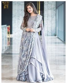 Glam up your look with Grey Color Georgette Fabric Designer Gown Indian Wedding Gowns, Indian Gowns Dresses, Indian Bridal Outfits, Indian Fashion Dresses, Gown Wedding, Party Wear Indian Dresses, Indian Weddings, Long Dresses, Dress Long