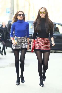 Matching minis and turtlenecks.  Milan Fashion Week #Streetstyle Fall 2014 #MFW                                                                                                 3 / 188