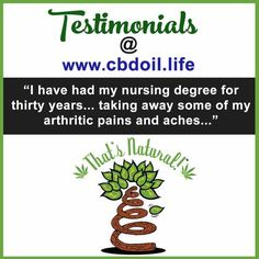 Testimonial for CBD Oil from That's Natural for Arthritis and Arthritic Pains and Aches - Testimonials at Thats Natural for Colorado CBD oil and…