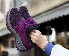 Women's Breathable Mesh Flat Slip On Sneakers Cute Sneakers, Slip On Sneakers, Platform Sneakers, Casual Sneakers, Sneakers Fashion, Casual Shoes, Winter Sneakers, Women's Sneakers, Sneakers Women