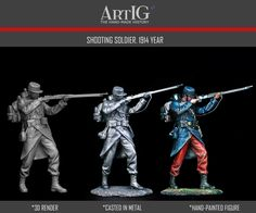 Artig producer of tin soldiers, historical miniatures, toy soldiers 54 mm, figurines, kits of military figures 3d Hand, Military Figures, Toy Soldiers, 3d Projects, Wwi, It Cast, Hand Painted, France, History