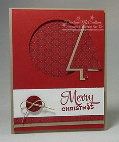 Lots of Joy Circle Card by dreamingaboutrubberstamps.com - One layout makes two very different circle cards using Stampin' Up! sets like Lots of Joy with the Merry Moments designer series paper and Tree Punch