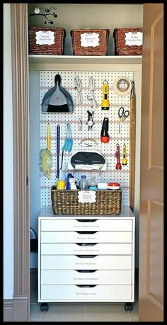 Pegboard tool organization for hall closet - use in garage for tools?