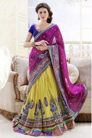 Faux Georgette and Net and Satin Lehenga Saree In Magenta and Yellow Colour