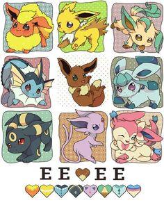 Eevee in adorable evolutional forms ...   pokemon, flareon, jolteon, leafeon, vaporeon, eevee, glaceon, umbreon, espeon, sylveon
