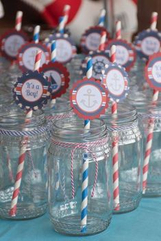 Mason jar drinks at a nautical baby shower party! See more party ideas at CatchMyParty.com!