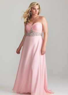 Beautiful long light pink plus size prom dress 2014 with strapless bodice and embellished waist line