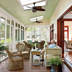 A long screened porch across the back of the house is where I'd be spending most of my time during the summer in this home in South Carolina.