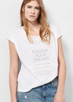 T-shirt algodão mensagem -  Violeta   VIOLETA BY MANGO