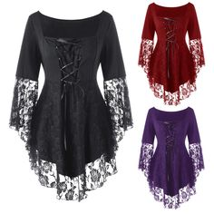 314a386b8c  12.99 - Plus Size Womens Lace Floral Hem Peplum Casual Blouse Flare Sleeve  Gothic Tops