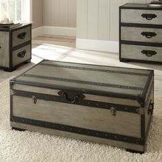 Steve Silver RW300C Rowan Trunk in Weathered Gray with Casters
