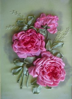 *RIBBON ART ~ Gallery.ru / Pink Rose - Embroidery ribbons, Part 2 - silkfantasy