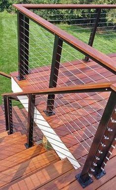 Deck Balustrade Ideas, Outdoor Stair Railing, Balcony Railing Design, Deck Stairs, Cable Railing, Deck Railings, Aluminum Deck Railing, Horizontal Deck Railing, Railing Ideas