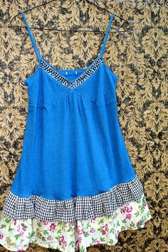 REVIVAL Upcycled Tank Top Shirt Shabby Chic