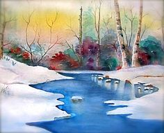 Watercolor Print  'Snowy River' white snow blue by JanetLongArts