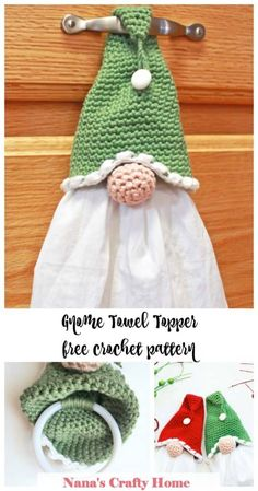 The Gnome Towel Topper is a free crochet pattern at Nana's Crafty Home! Perfect kitchen home decor for the gnome lover! So simple, easy & fast - a ring is added inside the hat to make your towel removable for easy washing! Knit Or Crochet, Free Crochet, Crotchet, Diy Crochet Gifts, Crochet Craft Fair, Simple Crochet, Crochet Home Decor, Crochet Towel Topper, Crochet Towel Holders