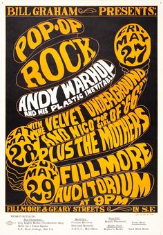 """""""Pop-Op Rock"""" Bill Graham Presents: Andy Warhol and His Plastic Inevitable with Velvet Underground And Nico, Mothers, Fillmore Auditorium 27 - 29 May 1966"""