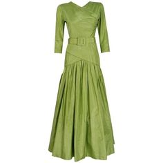 Preowned 1986 Christian Dior Haute-couture Chartreuse Silk Belted... ($2,500) ❤ liked on Polyvore featuring dresses, gowns, aesthetic evening dresses, green, green evening dresses, summer dresses, formal evening dresses, green silk dress and green gown