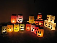 I love the luminary part of this craft.  It could be used for all kinds of decorations, not just Halloween.  Any face would do!!   ...Halloween Painted Jar Luminaries | Crafts by Amanda