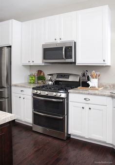 Dark Floor White Cabinet Kitchen what countertop color looks best with white cabinets? | white