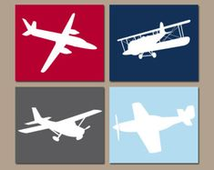 Airplane wall art, canvas or prints, baby boy nursery decor, airplane theme, Airplane Room Decor, Airplane Bedroom, Airplane Wall Art, Baby Boy Nursery Themes, Baby Boy Bedding, Baby Boy Rooms, Baby Decor, Baby Room, Nursery Boy