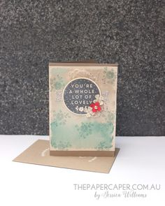 A Whole Lot of Watercolour Lovely. Details @ www.thepapercaper.com.au. Stampin' Up! supplies: A Whole Lot of Lovely stamp set, Lost Lagoon, Crumb Cake & Sahara Sand inks...