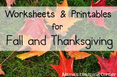 Fall and Thanksgiving Worksheets & Printables from Mama's Learning Corner