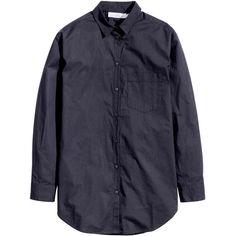 Wide-cut Cotton Shirt $19.99 ($20) via Polyvore featuring tops, button cuff shirt, blue shirt, button shirt, curved hem shirt and shirt top