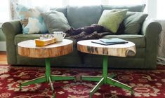 coffee table: old, industrial style legs with tree slices as the table top.