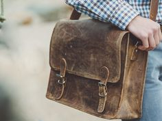 16 inch brown leather satchel by Scaramanga. Leather bags, satchels, furniture and interiors.