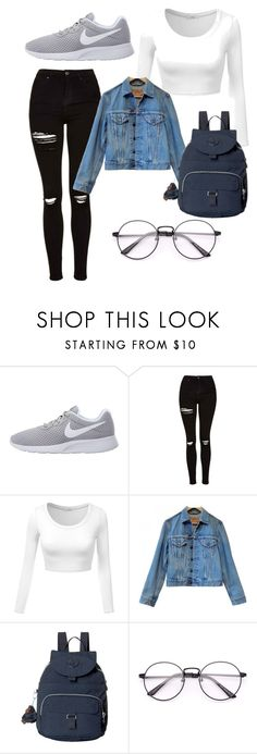 """Untitled #47"" by evelinefeitosaneres ❤ liked on Polyvore featuring NIKE, Topshop, Levi's and Kipling"