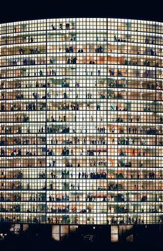 Andreas Gursky is a German visual artist known for his enormous architecture and landscape color photographs, often employing a high point of view. What an amazing photograph. Contemporary Photography, Urban Photography, Fine Art Photography, Street Photography, Landscape Photography, British Journal Of Photography, Window Photography, Building Photography, Pattern Photography