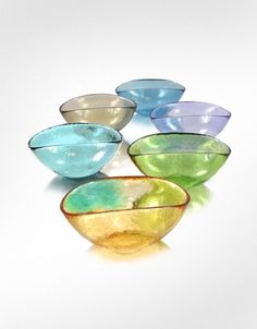 Yalos Murano Happy Fruit - 6 Colored Murano Glass Bowls | FORZIERI
