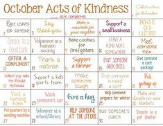 Random Acts of Kindness Calendar for October - Natural Beach Living Kindness Projects, Kindness Activities, Activities For Kids, Kindness Ideas, Bullet Journal Month, Kindness Challenge, Kindness Matters, Visiting Teaching, Kids Calendar