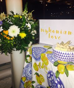 Mykonos wedding, yellow wedding decoration, blue decoration, Greek wedding, lafetegr