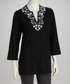 I'm a sucker for a great tunic -  Black & White Embroidered Blossom Top - Women, Petite & Plus by Cathy Daniels