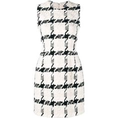 Alexander McQueen houndstooth mini dress (€2.995) ❤ liked on Polyvore featuring dresses, white, print dress, alexander mcqueen, white dress, white day dress and mixed print dress